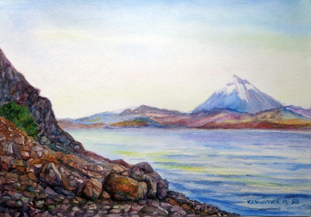 Нарисовать пейзаж камчатки